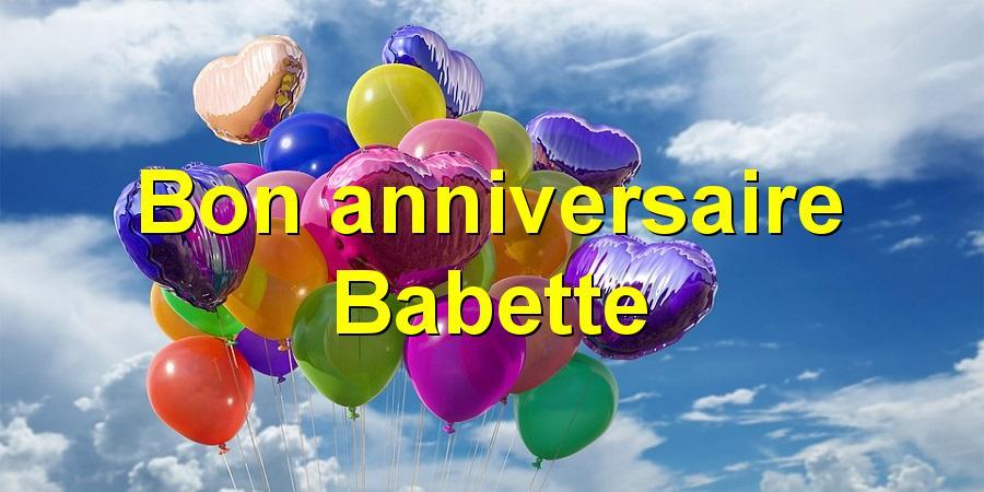 Bon anniversaire Babette